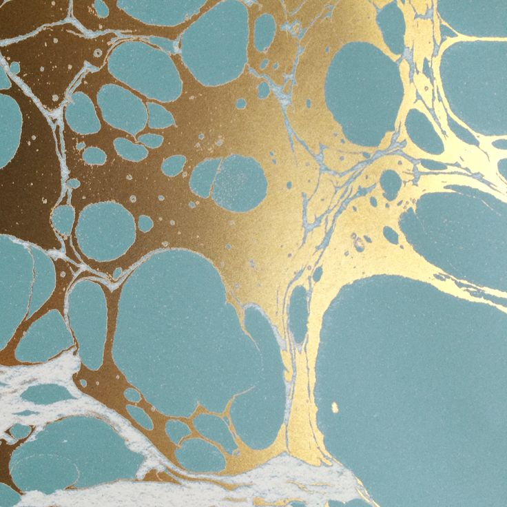 Marbled Paper In Teal And Gold