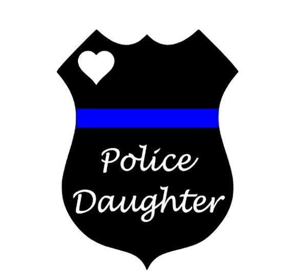 Police Daughter Decal Thin Blue Line Officer Badge by Lagniappe985
