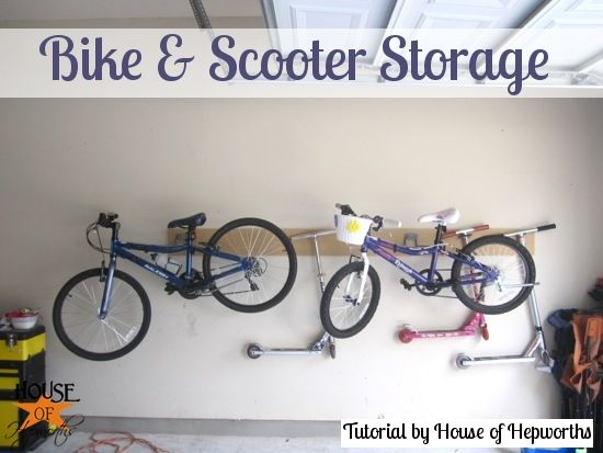 Love this tutorial on bike and scooter storage!