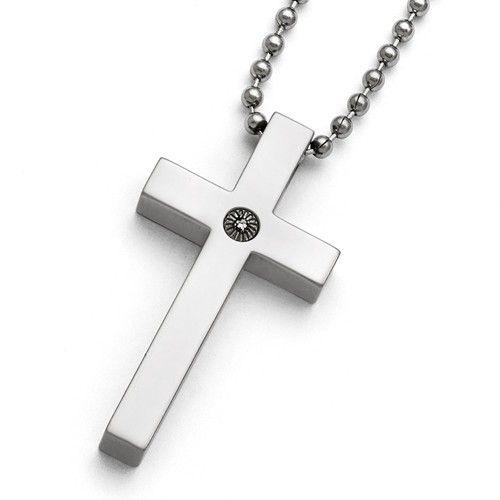Men's Titanium Polished Diamond Cross Necklace - Engravable Gift Item