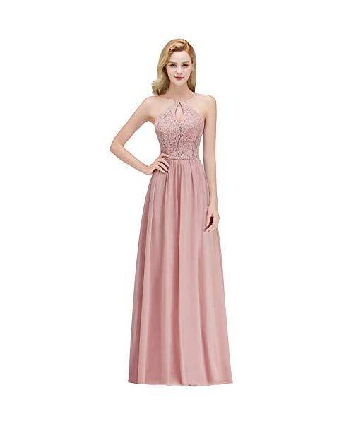 47e890e2bacb65 MisShow Damen Spitzen Kleider Elegant Ärmellos A-Linie Chiffon Prom Kleid  elegant für Hochzeit Ballkleider