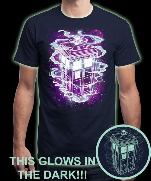 """It's Bigger on the Inside. Glow!"" is today's £8/€10/$12 tee for 24 hours only on www.Qwertee.com Pin this for a chance to win a FREE TEE this weekend. Follow us on pinterest.com/qwertee for a second! Thanks:)"