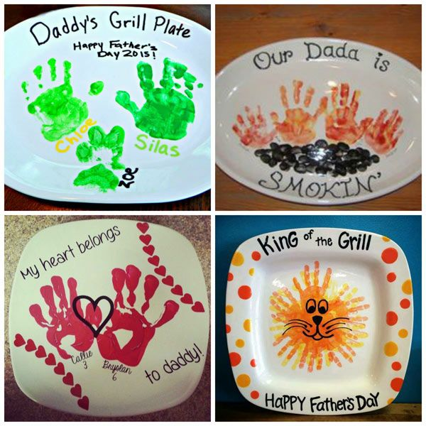 Father's Day handprint gifts: grill plates