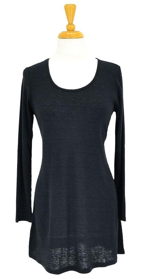 Black Woollen Ribbed Tunic