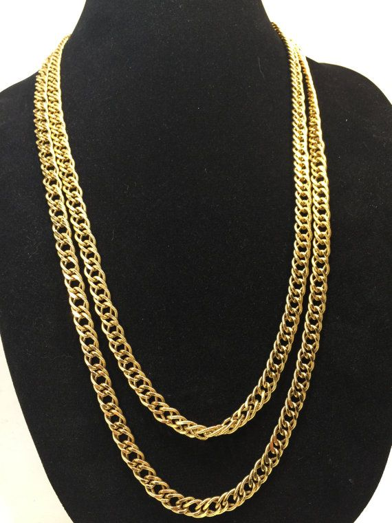 Vintage Signed Opera Length Monet Double Strand Necklace Chunky Gold Tone Textured Chain Link 55 inch