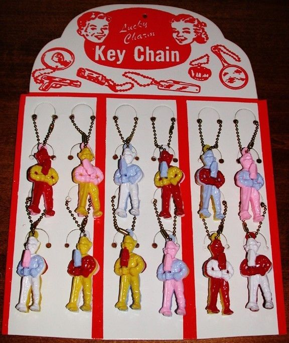 Vintage 1950s NBC HOWDY DOODY (12) Key Chain Puzzle STORE DISPLAY Old Stock MINT