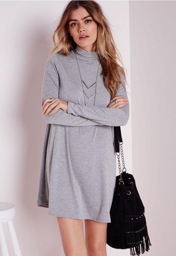 Swing-Kleid aus Jersey mit Rollkragen und langen Ärmeln in Grau - Kleider - Swing-Kleider - Missguided DE