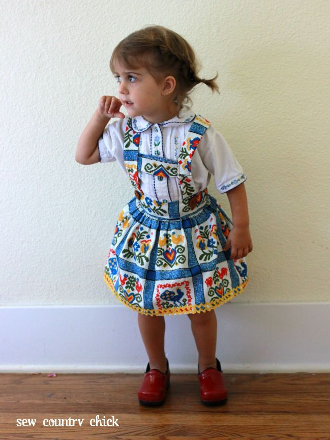The suspenders are adjustable and tie in a bow through loops in the back. Leave the suspenders off for an adorable, fast sew! The skirt is all measurements, the .