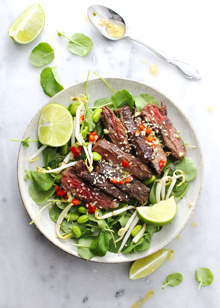 Korean BBQ Steak Salad is next level salad for your dinner or lunchtime meal. This sophisticated salad packs a flavorful and healthy punch. #steak #salad #koreanbbq #cleaneating #healthy