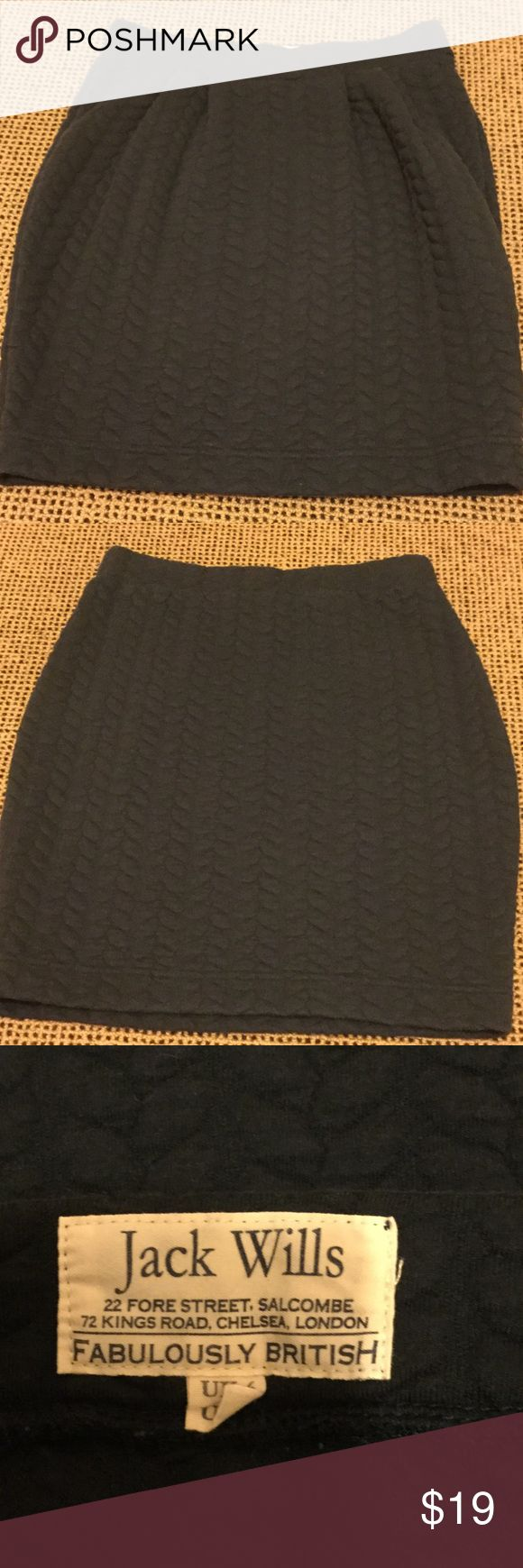 Jack Wills navy skirt US 2 Navy Jack Wills knit Skirt-elastic waist with cabled pattern.  Thick material.  Very good condition. Jack Wills Skirts