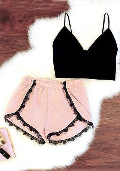 Lace-trimmed pink dolphin shorts with cute ensemble