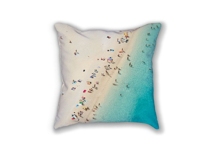"""""""Mediterranean Dreams"""" - Beach photography throw cushion and pillow cover. 18x18"""" Daydrift Throw Cushion or Pillow Case, featuring a double-sided Daydrift aerial beach photograph. Printed on 80% Polyester / 20% Cotton Fleece fabric, our cushions are soft and durable, machine washable, individually cut and sewn by hand."""