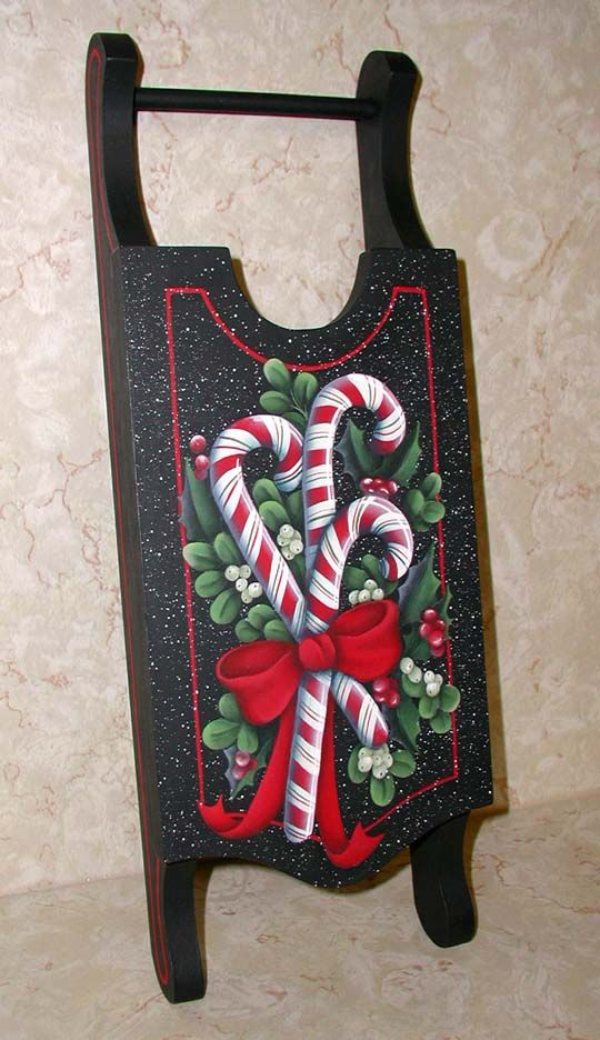 hand painted santas on sleds | Christmas,hand painted ornaments,lee wismer,decorative painting