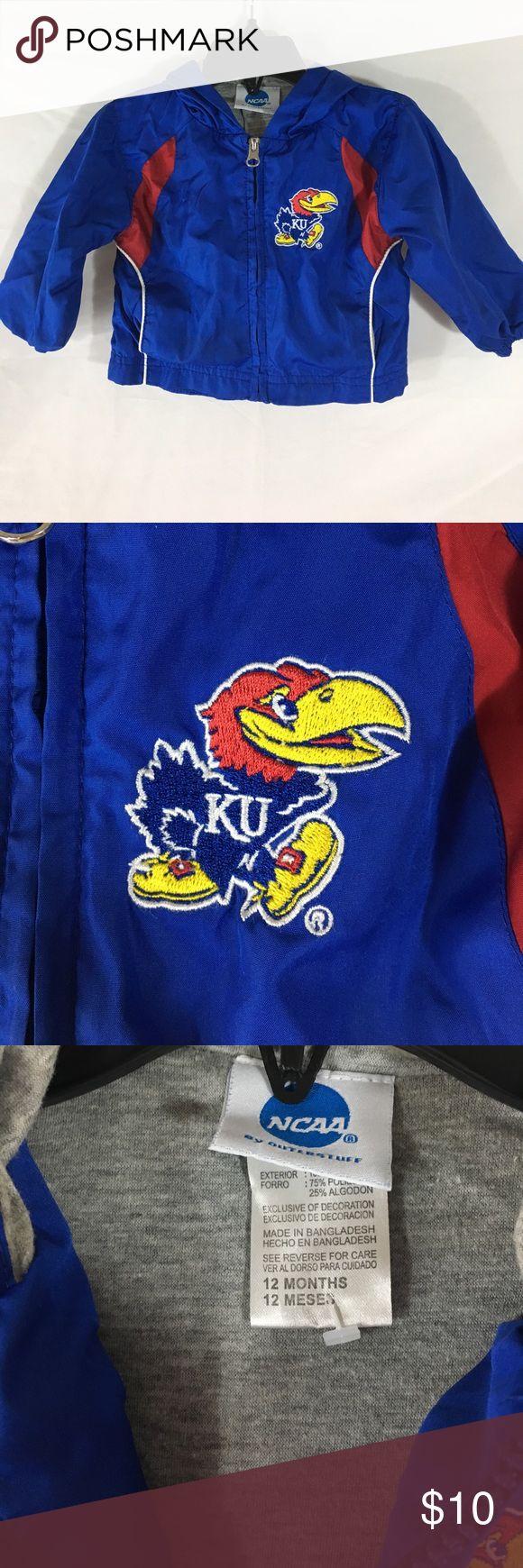 NCAA KU Blue and Red Windbreaker SZ 9/12 M NCAA KU Blue and Red Windbreaker SZ 9/12 M. Like new condition - no flaws!  Lined with soft gray liner and hood. So cute! NCAA Jackets & Coats Raincoats