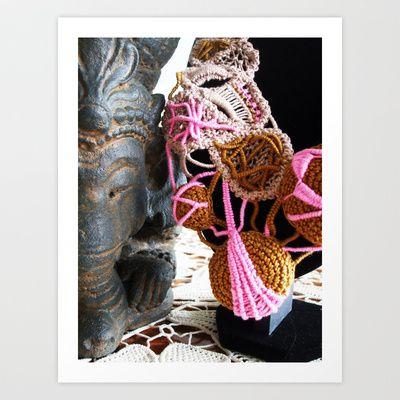 Ganesha and Romanian Point Lace Fine Art Photography Art Print by BaleaRaitzART - $33.28