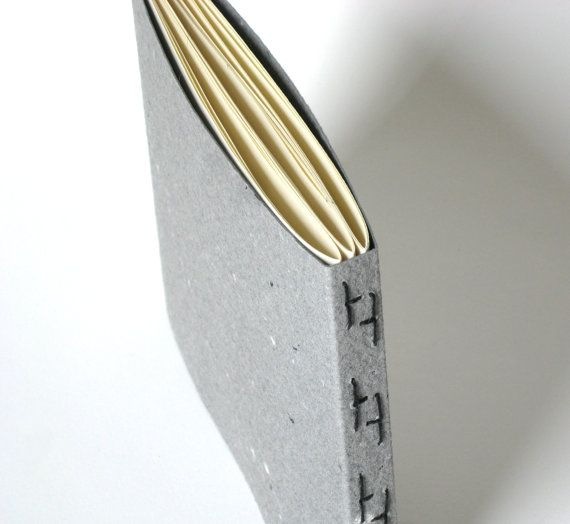 Gray Travel Journal - Hand Bound Book, Sketch Book, Broken Hs Stitch Binding, Made to Order