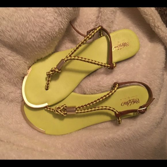 Neon Sandals Neon Yellow Sandals with brown and gold accents Mossimo Supply Co Shoes Sandals