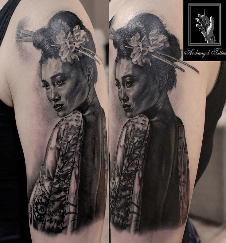 Realistic gesha japanese tattoo by Gabor Smola. You can find more of my works on social network: www.instagram.com/gabor_smola,  www.facebook.com/GaborSmolaArchangelTattoo
