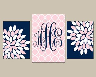 NAVY Pink Gray Nursery Wall Art Canvas or Prints Baby by TRMdesign