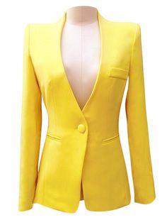 Promotion Women Autumn One Button Candy Color Business Suit BlazerS, Ol Slim short blazer jackets