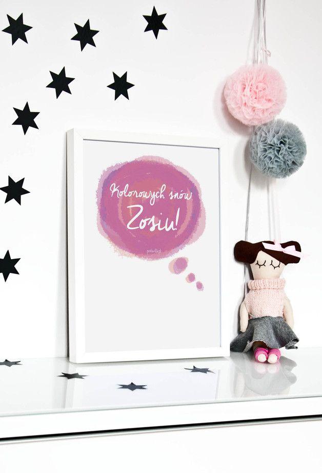 Plakat do personalizacji: Kolorowych snów córeczko - posterilla - Ozdoby na ścianę