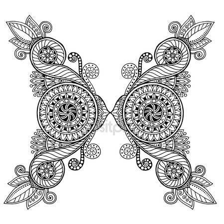 Downloaden - Etnische floral zentangle, doodle achtergrond patroon cirkel in vector. Henna paisley mehndi doodles ontwerp tribal ontwerpelement. Zwart-wit patroon voor kleuren boek voor volwassenen en kinderen — Stockillustratie #111464674