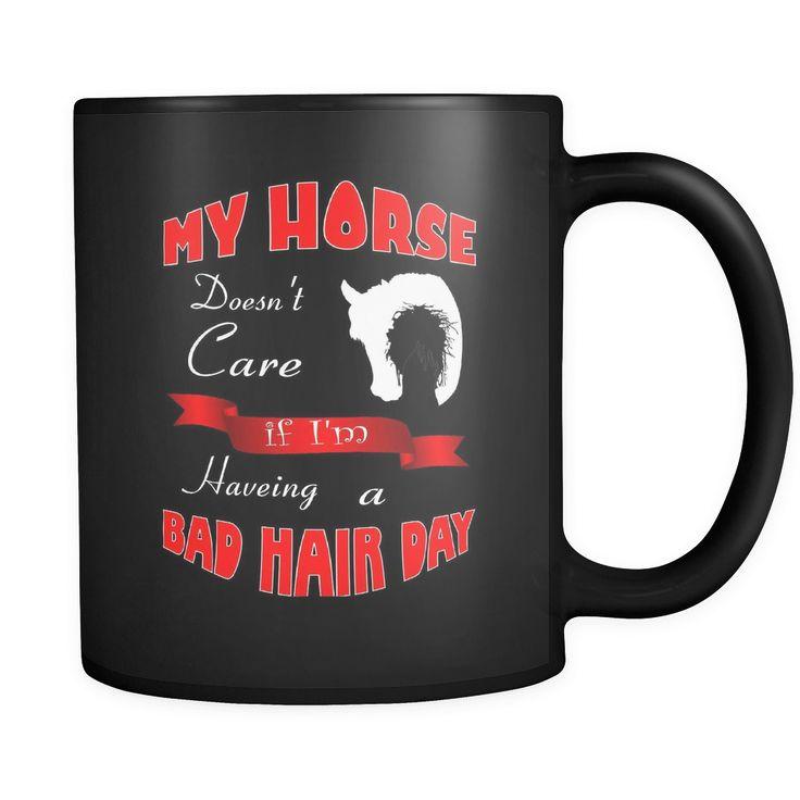 Bad Hair Day - Black Coffee Mug