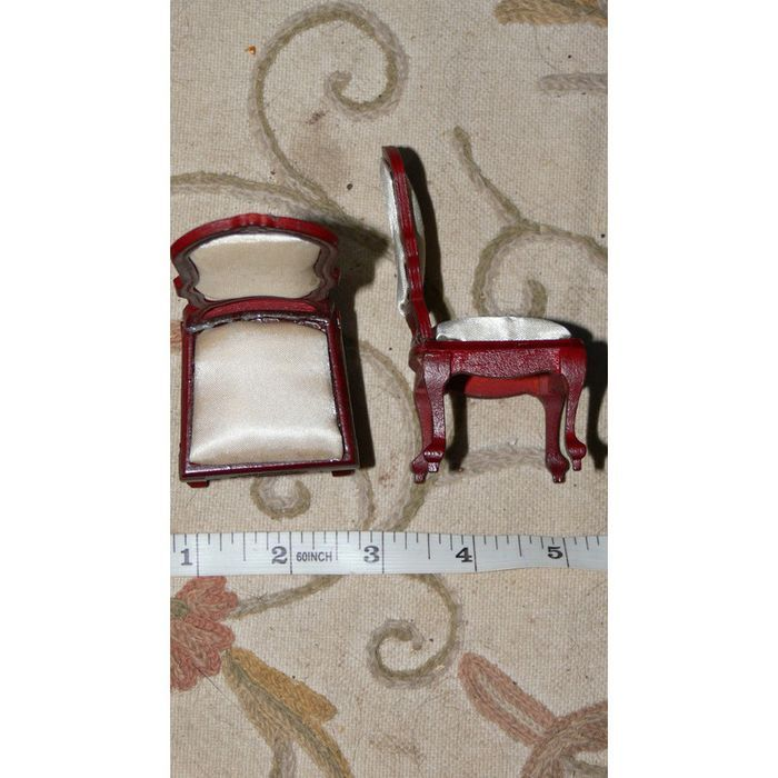 1:12 dollshouse Victorian Mahogany Chairs x2 Cream Seat Pads