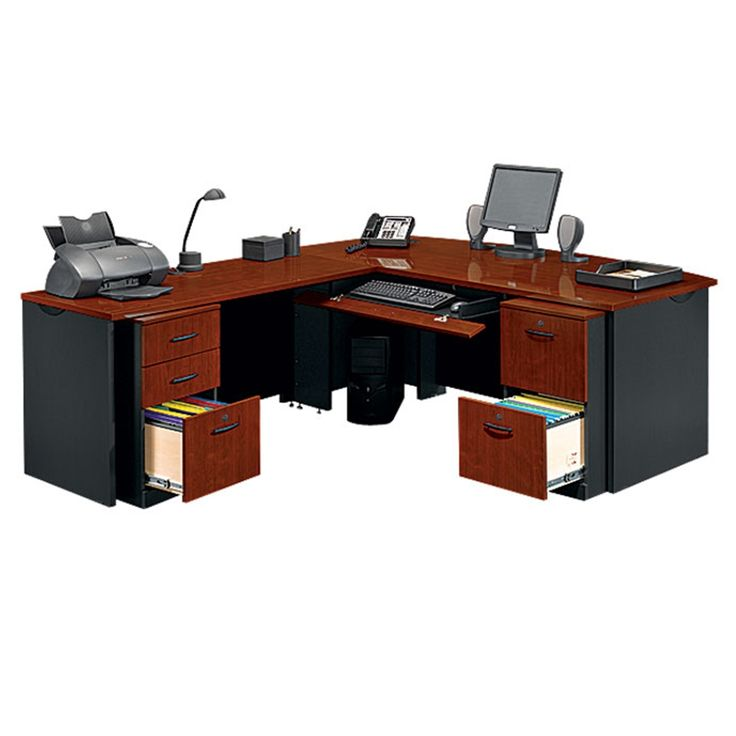 Locking Double Pedestal Executive Bowfront L Desk