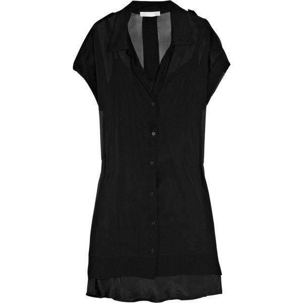 Kain Terra silk-chiffon shirt dress (3.305 ARS) ❤ liked on Polyvore featuring dresses, sukienki, long sleeve slip, see-through dresses, long-sleeve shirt dresses, sheer dress and long slip dress
