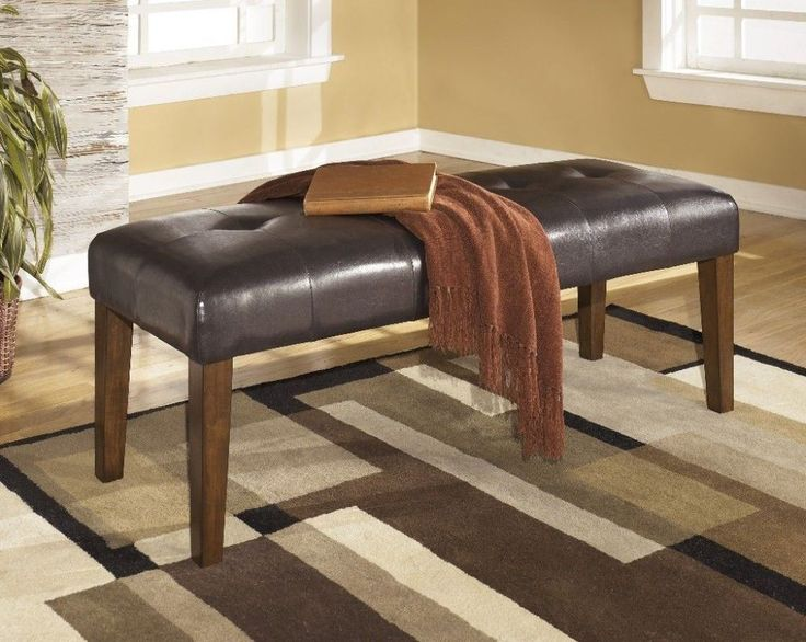 Brown Dining Room Transitional Bench #bench