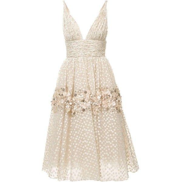 Carolina Herrera floral embroidered dress ($6,990) ❤ liked on Polyvore featuring dresses, white, carolina herrera, white day dress, embroidered flower dress, print dress and white embroidery dress