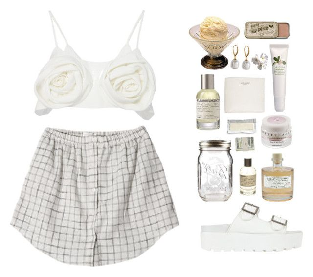 """{ icecream date }"" by ilmee ❤ liked on Polyvore featuring Kimhēkim, Origins, Chantecaille, Majorica, Le Labo, Yves Saint Laurent, Library of Flowers, SPURR and Jack Spade"