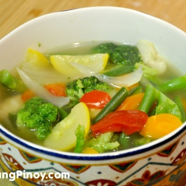 Healthy Vegetable Soup Recipe Soups with broccoli florets, yellow squash, zucchini, red bell pepper, green beans, yellow onion, vegetable broth, salt, pepper