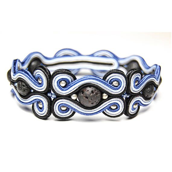 Soutache bracelet for man handmade unique jewelry sale gift