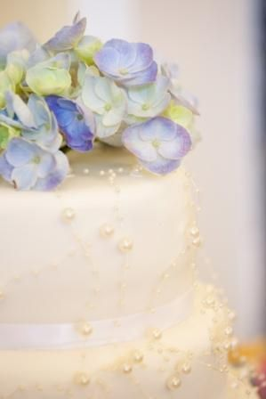 Our perfect wedding cake! Fresh hydrangea on top of a simple ivory icing with scattered pearl decoration. Elegance...thanks Mum!