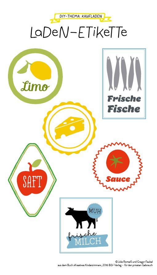 Freebie: Kaufladen-Etikette zum Download, DIY-Kaufladen, Kinderladen