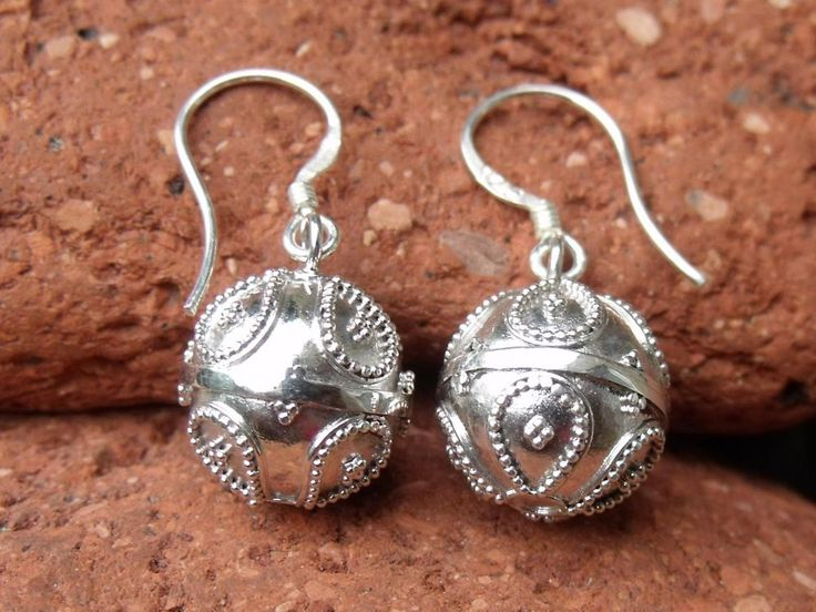 HARMONY/CHIME BALL BALINESE STERLING SILVER EARRINGS HANDCRAFTED JEWELLERY