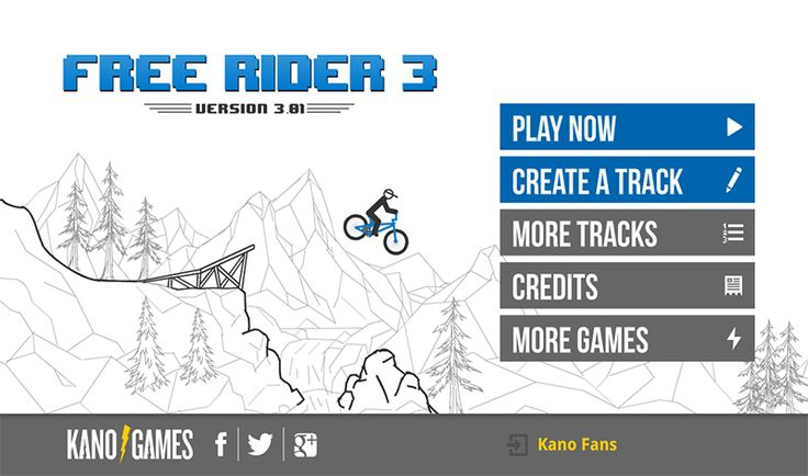Free Rider 3 - Play Free Games Free Rider 3 is the long awaited sequel to Free Rider 2! Find out why over 100 million players have driven this BMX rider to his death in the most addictive bike game of all time. Play thousands of community created tracks or draw your own track! www.andkonbox.com