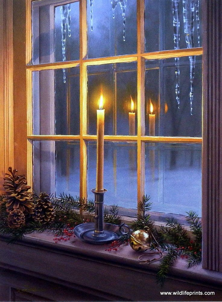 The flame of a Christmas candle sheds an inviting reflection through a cabin window in Darrell Bush's print WARM REFLECTIONS. This peaceful holiday print has an original artist signature and comes in