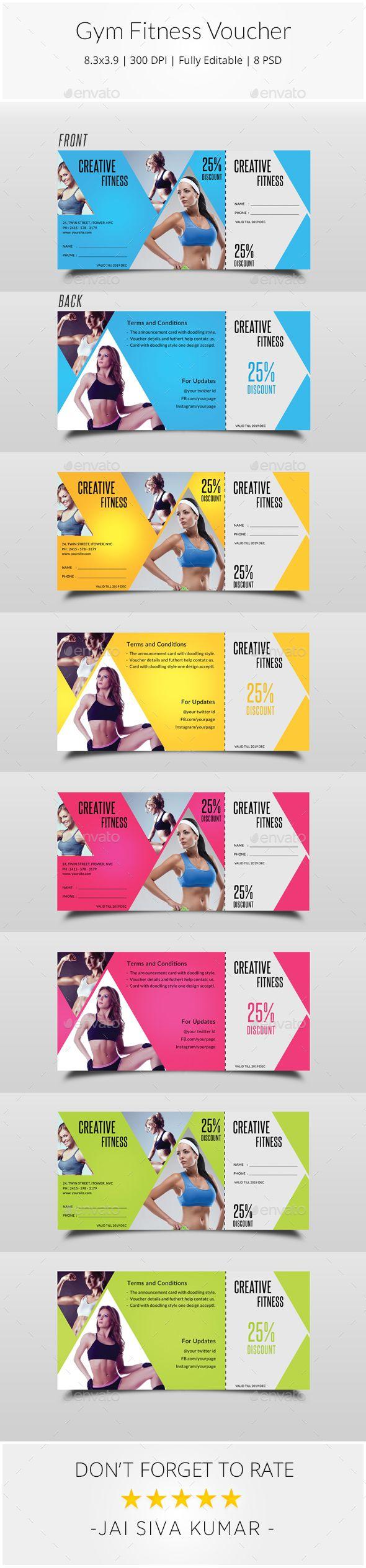 Gym Fitness Voucher Template PSD. Download here: http://graphicriver.net/item/gym-fitness-voucher/15189456?ref=ksioks
