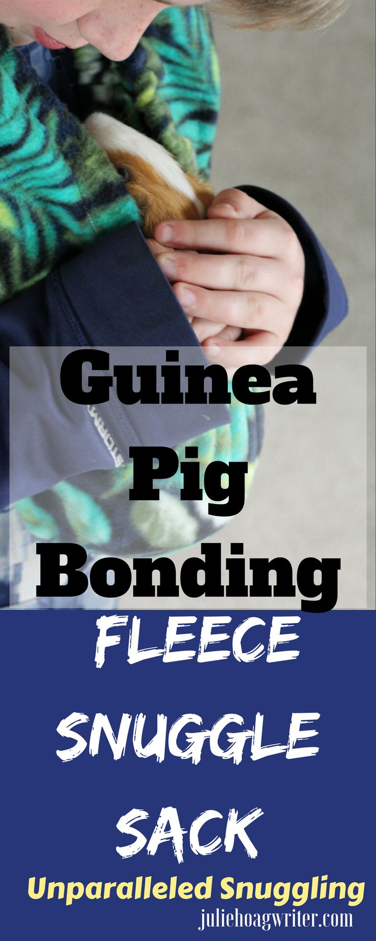 Guinea pig fleece snuggle sack for unparalleled bonding time with a pet guinea pig. This guinea pig bonding bag is a simple, yet innovactive design that promotes bonding with guinea pigs plus reduces their anxiety. This guinea pig carrier allows the cavy to go along with the owner around the house, on walks. #guineapig #guineapigs #guineapigfleece #guineapigbondingbag #pettravelcarrier #petlifehacks #petcare #healthypet #pets #kidspet #guineapigcaretips