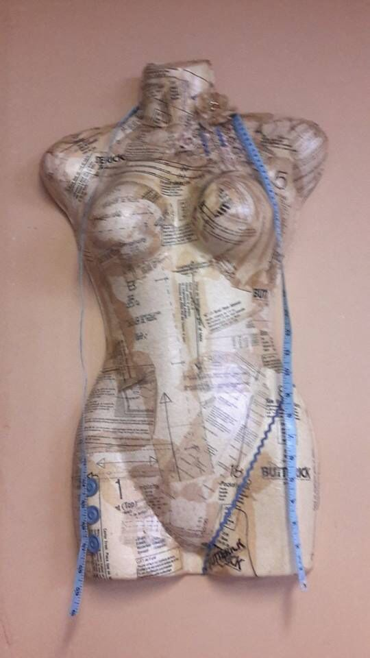 Another torso piece created by mum, created out of vintage sewing paper. #torsoartwork #torso #art