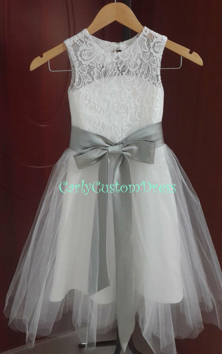 Grey Sash Lace Ivory Flower Girl Dress Wedding Baby Dress 2014