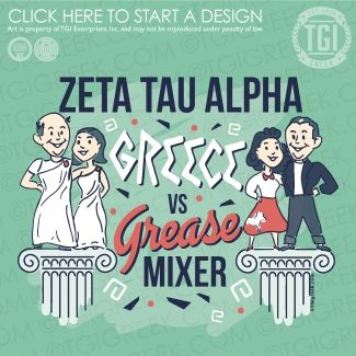 Zeta Tau Alpha | ZTA | Date Party | Greek Mixer | Greece vs Grease Mixer | Date Party Shirt | TGI Greek | Greek Apparel | Custom Apparel | Sorority Tee Shirts | Sorority T-shirts | Custom T-Shirts
