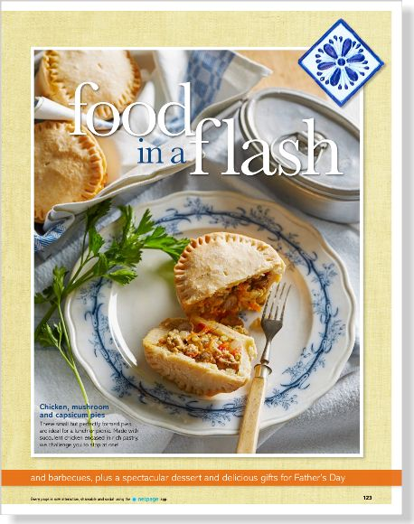 Chicken and mushroom pies. Clipped from Better Homes and Gardens using Netpage.