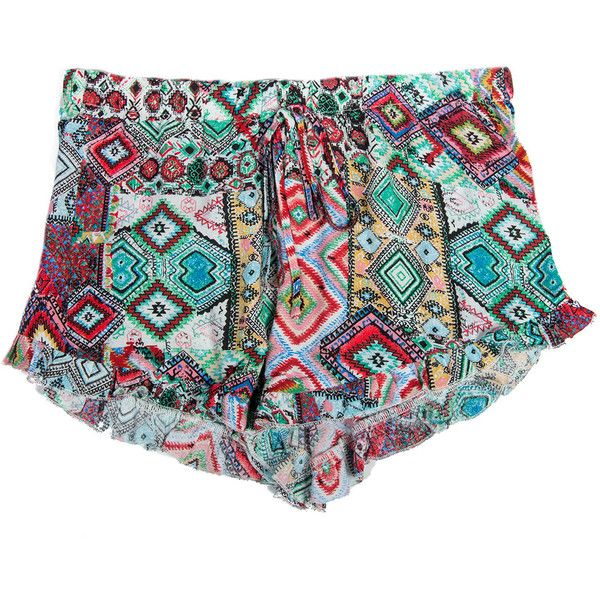 Bright Tribal Ruffle Lounge Shorts ($23) ❤ liked on Polyvore featuring shorts, bottoms, tribal shorts, flounce shorts, frill shorts, frilly shorts and bright colored shorts