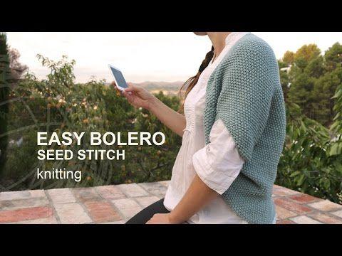 Tutorial Bolero Punto Arroz Tricot o Dos Agujas en Español - YouTube