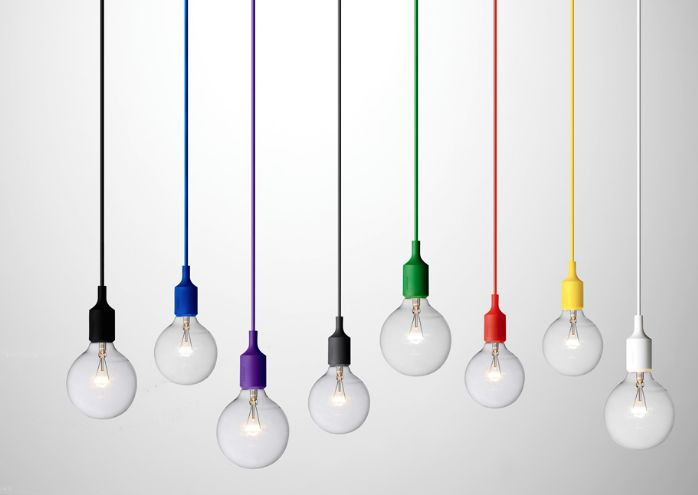 coloured hanging bulbs