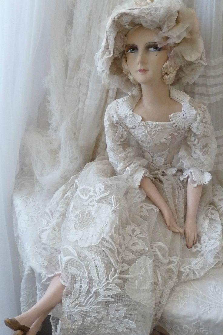 Antique French Boudoir Doll Paris C 1920 Edwardian Fashion Doll | eBay